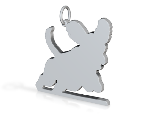 Labradoodle agility dog silhouette pendant sterling silver handmade by saw piercing Caroline Howlett Design